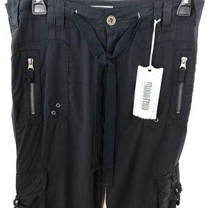 NWT Monoreno Black Cargo Utility Cropped Pants, SM